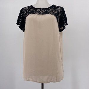 Anthropologie Maeve Top Cream Black Lace Blouse